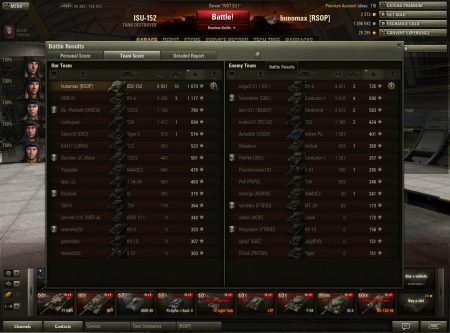 Victory! Battle: South Coast 25. elokuuta 2013 15:43:18 Vehicle: ISU-152 Experience received: 15030 (x5) Credits received: 99615 Battle Achievements: Pool's Medal, Top Gun, Defender  Mission completed! Award: Equipment added: Pudding and Tea (x1), Case of Cola (x1), Extra Combat Rations (x1), Chocolate (x1)