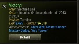 Steel Wall, Master Gunner, Mastery Badge: