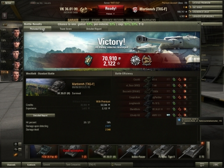 In a tier 8 heavy game, and a serious carry in a tier 6, very cool Victory!