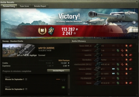 A good round with 8.8cm Jagdtiger