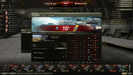 Victory! Battle: Siegfried Line 2013-09-20 16:47:02 Vehicle: VK 30.02 (M) Experience received: 2968 Credits received: 69006 Battle Achievements: Sharpshooter, Oskin's Medal