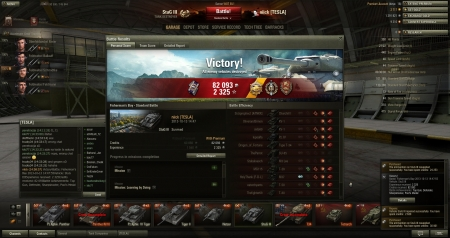 Victory! Battle: Fisherman's Bay 2013-10-13 14:47:55 Vehicle: StuG III Experience received: 2325 Credits received: 82093 Battle Achievements: Top Gun, Defender, Sharpshooter, Pool's Medal