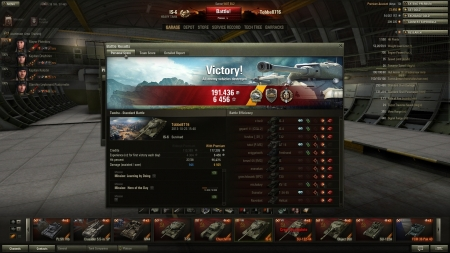 Victory! Battle: Tundra 2013-10-23 15:40:56 Vehicle: IS-6 Experience received: 6456 (x2 for the first victory each day) Credits received: 191436 Battle Achievements: Steel Wall, Top Gun, Radley-Walters's Medal