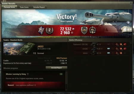 Victory! Map: Tundra 29.12.2013 11:50:19 Vehicle: 112 Exp: 2960 (x2)  Credits: 72532  Battle Achievements: Steel Wall, Sharpshooter, Cool-Headed, Mastery Badge: