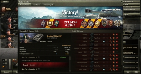 Vehicle: Excelsior Experience received: 4.694 Credits received: 213.943 Battle achievements: Steel Wall, Defender, Top Gun, Master Gunner, Sharpshooter, De Langlade's Medal, Pascucci's Medal, Pool's Medal, Mastery Badge: