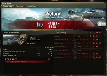 Victory! Komarin 22.3.2014 12:53:17 FV207  5011 (x3)  45565    Mastery Badge: