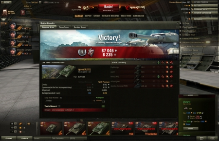 Victory!<br> Map: Live Oaks<br> <br>   112<br> <br> Exp.: 8235  (x5)  87046  <br> <br>   Repairs: 5684   <br>   Ammo: 72800   <br> <br> Total: 8562    Crew Exp.: 9882  <br>   Reaper