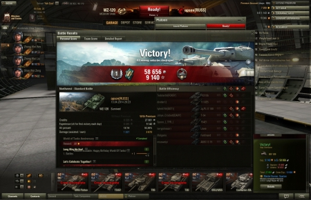 Victory!<br> Map: Northwest<br> <br>   WZ-120<br> <br> Exp.: 9140  (x5)  58656  <br> <br>   Repairs: 15865   <br>   Ammo: 14910   <br>  Total: 27881    Crew Exp.: 10968   <br>  Master Gunner, Spartan