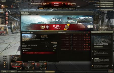 Victory!<br> Battle: Province <br> Vehicle: Loyd Gun Carriage<br> Experience received: 1574 (x2 for the first victory each day)<br> Credits received: 13308<br> Battle achievements: Reaper, Fadin's Medal, Mastery Badge: Ace Tanker